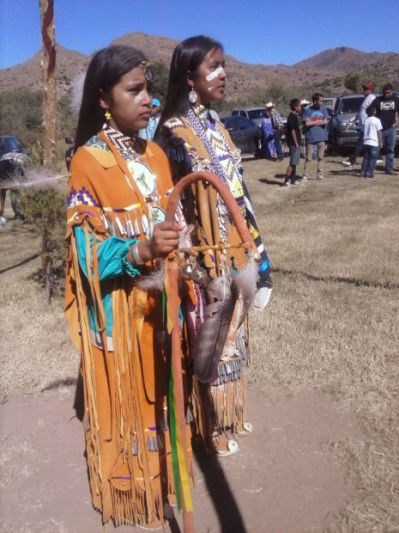 "Naelyn and Nizhoni Pike participate in the San Carlos Apache Tribe's ""sunrise ceremony"" at Oak Flat near Superior. Courtesy of Sandra Rambler"